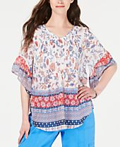 Style & Co Retro Scarf-Print Pintuck-Pleat Top, Created for Macy's
