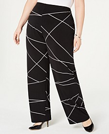 Plus Size Printed Wide-Leg Pants, Created for Macy's
