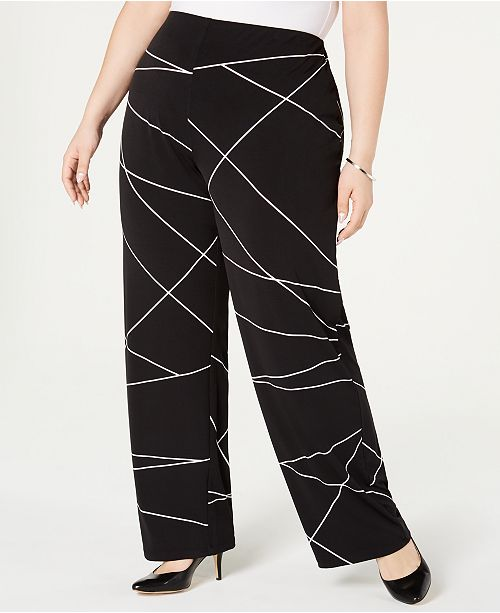649cb41a8a0 ... Alfani Plus Size Printed Wide-Leg Pants