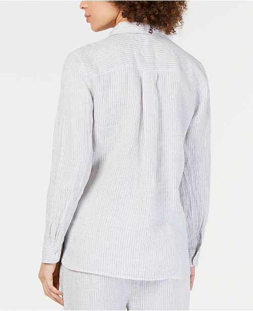 4bc985e7 Eileen Fisher Linen Striped Classic Collared Shirt, Regular & Petite ...