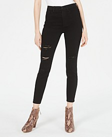 Juniors' High-Rise Distressed Curvy Skinny Jeans