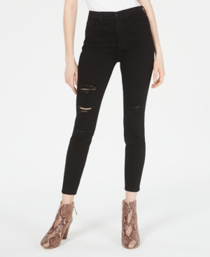 Juniors' High-Rise Distressed Curvy Skinny Jeans
