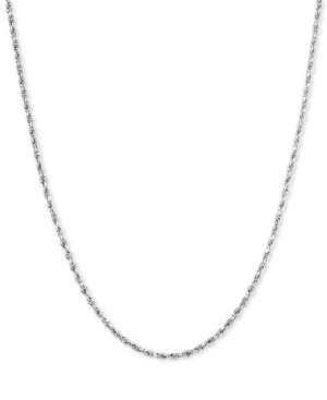 """Glitter Rope 18"""" Chain Necklace in 14k White Gold"""