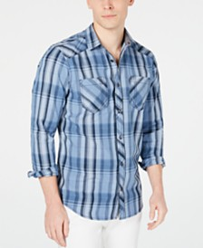 I.N.C. Men's Aaron Plaid Shirt, Created for Macy's