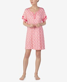 Ellen Tracy Printed Split-Neck Nightgown