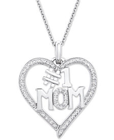"""Diamond #1 Mom Heart Pendant Necklace (1/6 ct. t.w.) in Sterling Silver, 18"""" + 2"""" extender"""