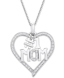 "Diamond #1 Mom Heart Pendant Necklace (1/6 ct. t.w.) in Sterling Silver, 18"" + 2"" extender"