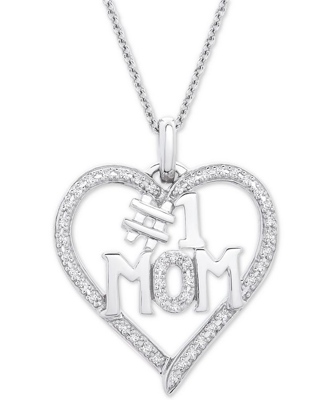 "Macy's Diamond #1 Mom Heart Pendant Necklace (1/6 ct. t.w.) in Sterling Silver, 18"" + 2"" extender"