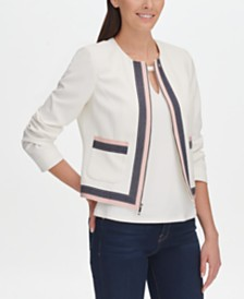 Tommy Hilfiger Contrast-Trim Textured Zip-Up Jacket, Created for Macy's