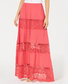 GUESS Ursula Lace-Trim Maxi Skirt