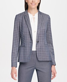 Tommy Hilfiger Windowpane-Print One-Button Blazer