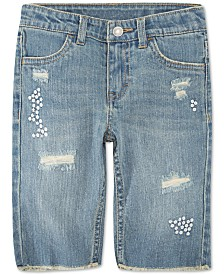 Levi's® Little Girls Distressed Denim Bermuda Shorts