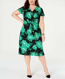 I.N.C. Plus Size Printed Twist-Front Dress, Created for Macy's