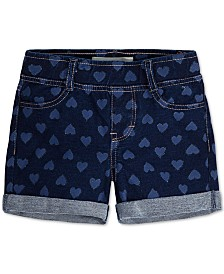Levi's® Little Girls Heart-Print French Terry Shorts