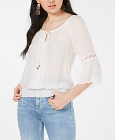 BCX Juniors' Crochet-Trim Bell-Sleeve Top