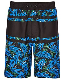 Ideology Big Boys Palm-Print Swim Trunks, Created for Macy's