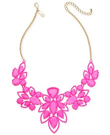 "INC Gold-Tone Stone Openwork Statement Necklace, 18"" + 3"" extender, Created for Macy's"