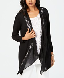2f68659328f JM Collection Lace-Trim Draped Cardigan