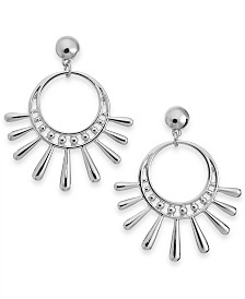 I.N.C. Silver-Tone Sunburst Drop Earrings, Created for Macy's