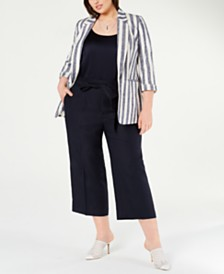 Bar III Striped Blazer, Camisole & Wide-Leg Pants, Created for Macy's