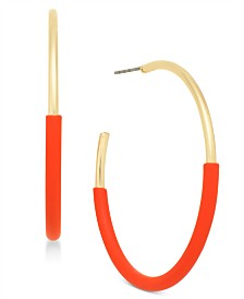 Alfani Gold-Tone Colorblock Hoop Earrings, Created for Macy's