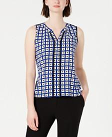 Calvin Klein Petite Printed Split-Neck Top
