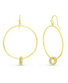 Women's White Rhinestone Interlocking Circle Dangle Hook Earrings