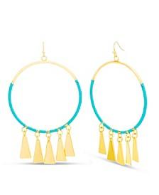 Women's Polished Triangle Dangle Circle Hook Earrings