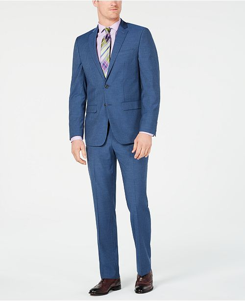 Van Heusen Men's Slim-Fit Flex Stretch Wrinkle-Resistant Blue Pinstripe Suit