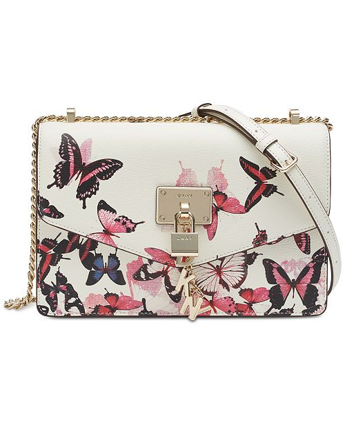 DKNY Elissa Leather Butterfly Print Shoulder Bag, Created for Macy's