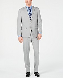 Men's Classic-Fit Stretch Light Gray Stepweave Suit, Created for Macy's