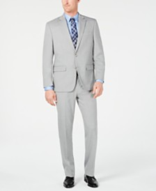 Club Room Men's Classic-Fit Stretch Light Gray Stepweave Suit, Created for Macy's