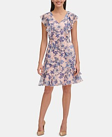 Petite Floral Chiffon Ruffled Dress
