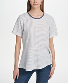 DKNY Mixed-Striped Peplum Top