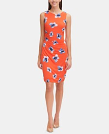 Tommy Hilfiger Floral-Print Draped Jersey Dress