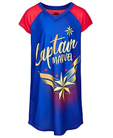 Little & Big Girls Captain Marvel Graphic-Print Nightgown