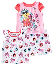 Toddler Girls 3-Pc. Sesame Street Pajamas Set