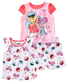 AME Toddler Girls 3-Pc. Sesame Street Pajamas Set