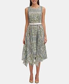 Belted Printed Chiffon Midi Dress