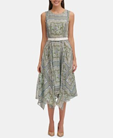 Tommy Hilfiger Belted Printed Chiffon Midi Dress