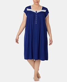 Eileen West Plus Size Lace-Trim Knit Waltz-Length Nightgown