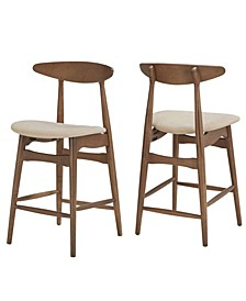 Larvik Mid-Century Dark Walnut Finish Counter Height Stools Set Of 2