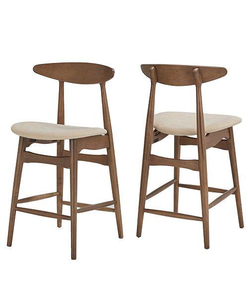 Tremendous Larvik Mid Century Dark Walnut Finish Counter Height Stools Set Of 2 Cjindustries Chair Design For Home Cjindustriesco
