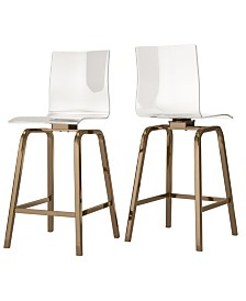 Moore Clear Acrylic Swivel High Back Counter Height Stools With Back Set Of 2