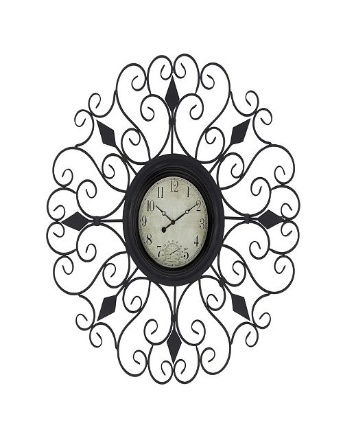 Rosemary Lane Traditional Tin Scrollwork Analog Wall Clock