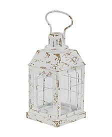 Rustic Distressed White Window Candle Lantern