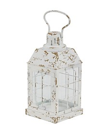 Rosemary Lane Rustic Distressed White Window Candle Lantern