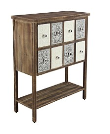 "Rustic 33"" x 37"" 8-Drawer Lattice-Patterned Wooden Sideboard"