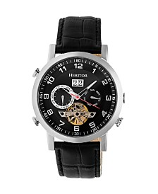 Heritor Automatic Edmond Black Dial, Genuine Black Leather Watch 43mm