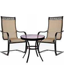 "Monaco 3-Piece Bistro Set with Spring Sling Chairs - 29.05"" x 29.8"" x 58.32"""
